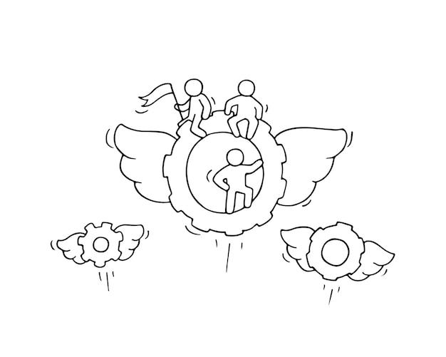 Dibujo de ruedas dentadas voladoras con pequeños trabajadores. doodle linda miniatura sobre tecnología. dibujos animados dibujados a mano para diseño empresarial e industrial.