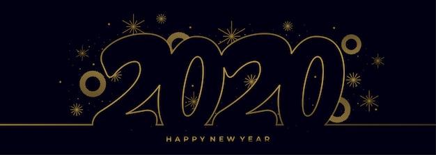 Dibujo de una sola línea del año nuevo 2020 con banner de colores dorados