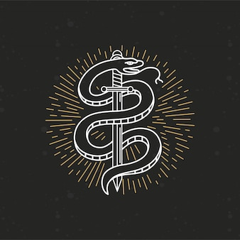 Dibujo de tatuaje monocromo lineal vectorial
