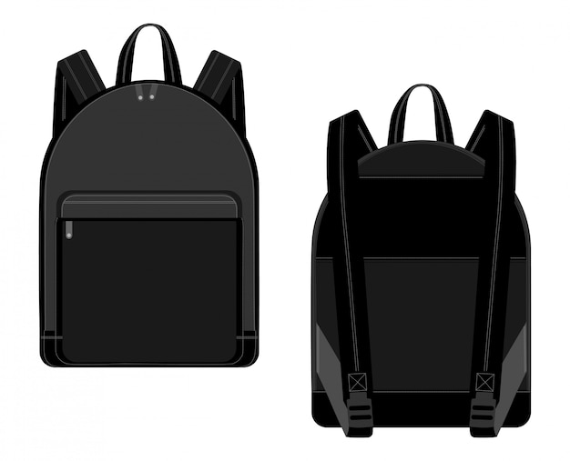 Dibujo técnico del ejemplo negro del vector de la mochila mochilas para escolares, estudiantes, viajeros y turistas con cremalleras.