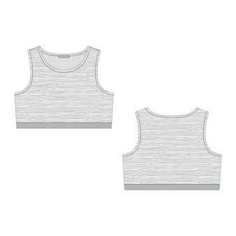 Dibujo técnico de sujetador para mujer en tejido melange sobre fondo blanco. vistas frontal y posterior.