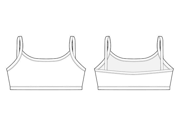 Dibujo técnico sujetador niña. plantilla de diseño superior de ropa interior femenina.