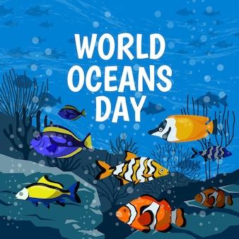 Dibujo del tema de la ilustración del día mundial de los océanos