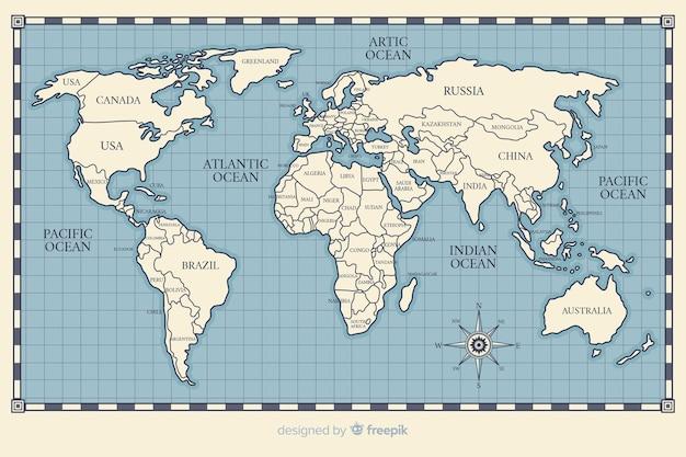 Dibujo de tema vintage para mapa mundial