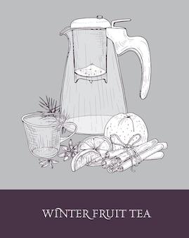 Dibujo de tetera de cristal con colador, taza de té caliente, naranja, canela y anís estrellado