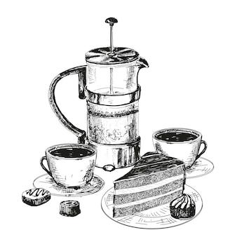 Dibujo de tetera, taza y pastel de chocolate.