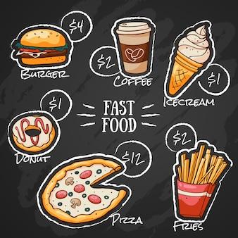Dibujo de tiza en el menú de comida rápida.
