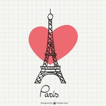 Dibujo de la torre eiffel con corazón