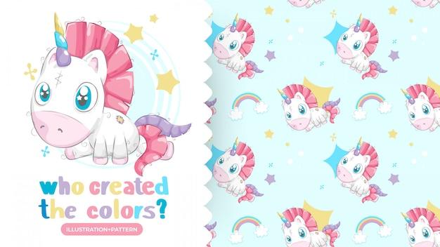 Dibujo de unicornio hermoso con fondo de patrones