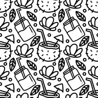 Dibujo de vacaciones de hawaii bebida dibujada a mano con iconos y elementos de diseño