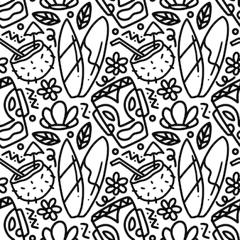 Dibujo de vacaciones de hawaii dibujadas a mano con iconos y elementos de diseño