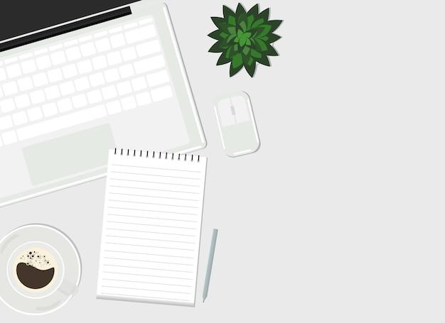 Dibujo vectorial de una computadora portátil abierta con un teclado blanco, junto a un mouse inalámbrico y café. vista desde arriba