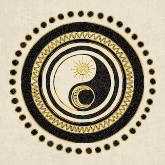 Dibujo vectorial sobre el tema del símbolo de yin yang