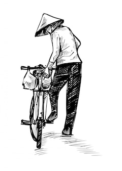 Dibujo del vietnamita está librando bicicleta dibujar a mano
