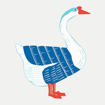 Dibujo vintage colorido ganso vector linograbado