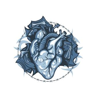 Dibujo vintage de un corazón humano sobre un fondo de rosas y espinas.
