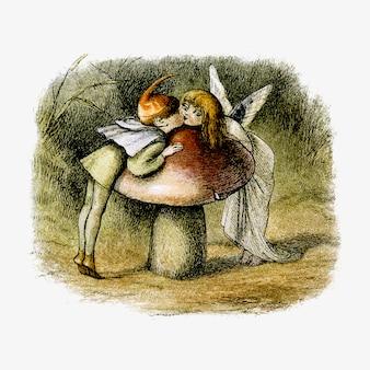 Dibujo vintage de ninfas de bosque