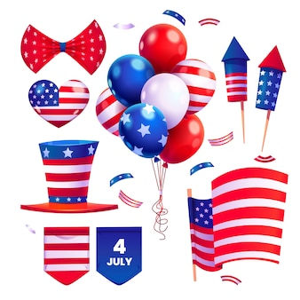 Dibujos animados del 4 de julio - colección de elementos del día de la independencia