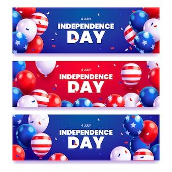 Dibujos animados del 4 de julio - conjunto de banners del día de la independencia