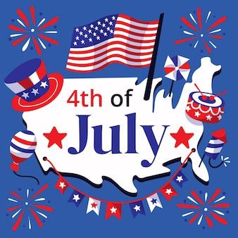 Dibujos animados 4 de julio ilustración del día de la independencia