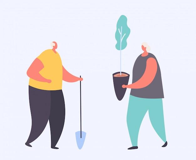Dibujos animados abuelo con pala y abuela con plántulas en una maceta para su jardín en blanco, ilustración