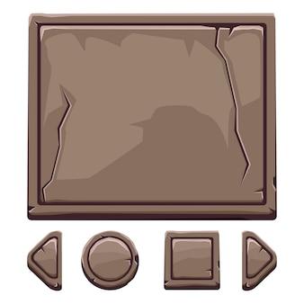 Dibujos animados activos de piedra marrón y botones para juego de interfaz de usuario