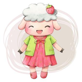 Dibujos animados de acuarela de oveja bonita