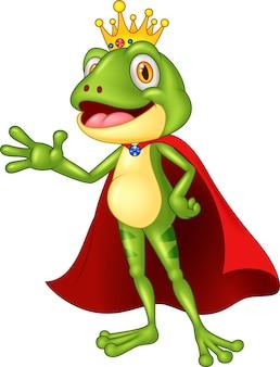 Dibujos animados adorable rey rana agitando la mano