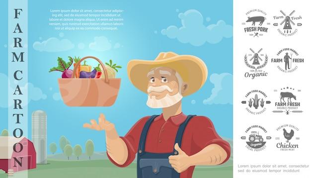 Dibujos animados agricultura colorida composición con granjero cesta de verduras y granja monocromo diseño insignias