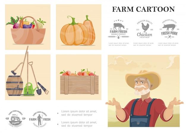 Dibujos animados de agricultura y composición agrícola con herramientas de trabajo manual de agricultores, verduras, manzanas y emblemas de diseño monocromo de granja