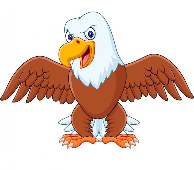 Dibujos animados de águila calva con alas extendidas