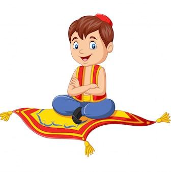 Dibujos animados aladdin viajando en alfombra voladora