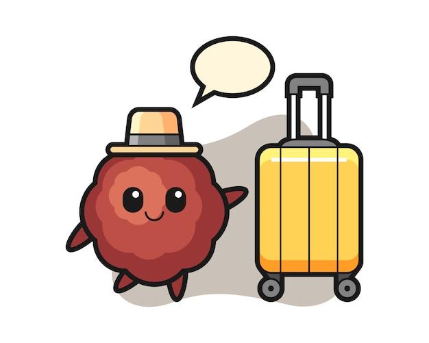 Dibujos animados de albóndigas con equipaje de vacaciones
