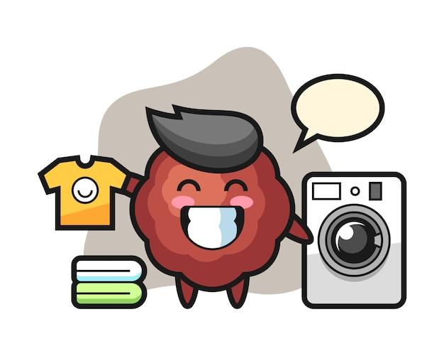 Dibujos animados de albóndigas con lavadora