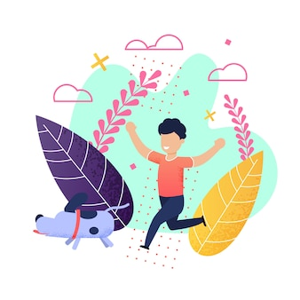Dibujos animados alegre niño corriendo con perro