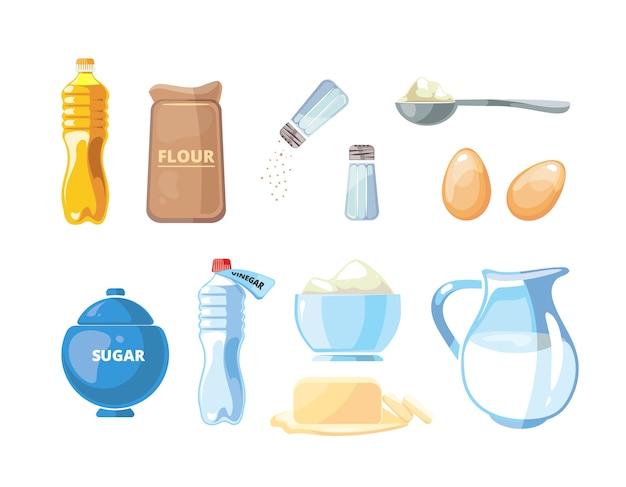Dibujos animados de alimentos para hornear y cocinar ingredientes vectoriales