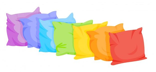 Dibujos animados de almohada arcoiris en una fila. textil interior para el hogar. almohadas cuadradas de siete colores