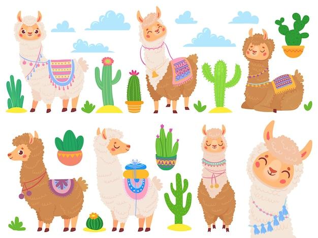 Dibujos animados de alpaca mexicana. llamas divertidas, animal lindo de dibujos animados y llama con cactus del desierto
