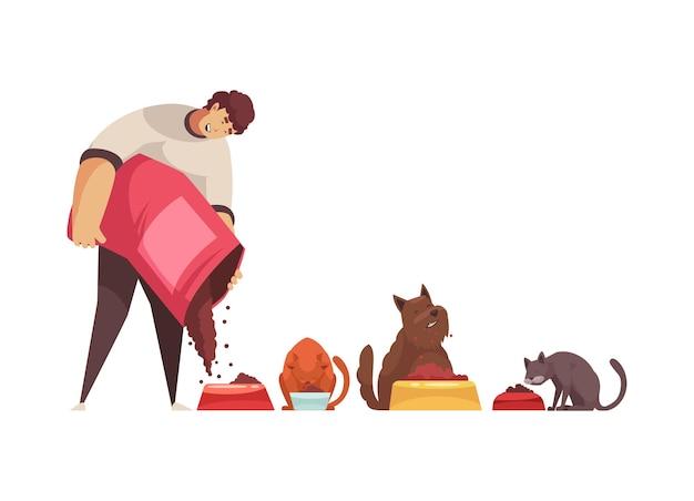 Dibujos animados con amable cuidador de mascotas alimentando perros y gatos