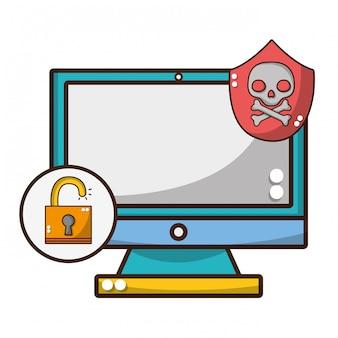 Dibujos animados de amenaza de ciberseguridad