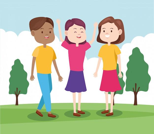 Dibujos animados de amigos adolescentes en el parque