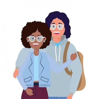 Dibujos animados de amigos de jóvenes
