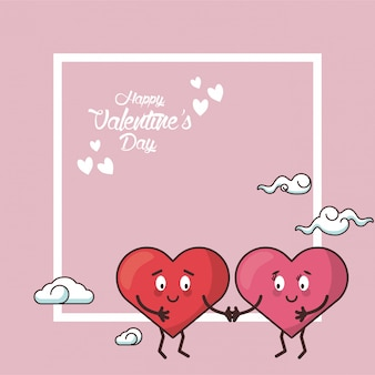 Dibujos animados de amor de san valentín