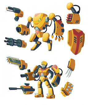 Dibujos animados de androides, soldados humanos en exoesqueletos de combate robóticos con armas