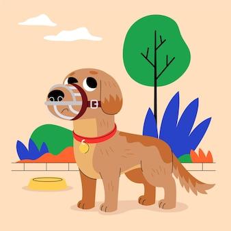 Dibujos animados de animales con bozal en el parque