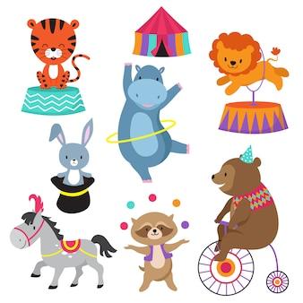 Dibujos animados de animales de circo para tarjetas de cumpleaños infantiles.