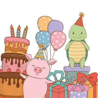 Dibujos animados de animales con diseño de feliz cumpleaños