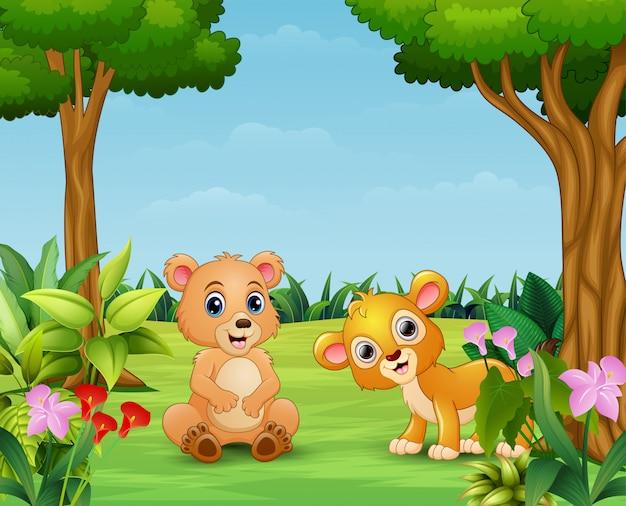 Dibujos animados de animales disfrutando en la hermosa naturaleza.