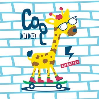 Dibujos animados de animales divertidos jirafa fresca