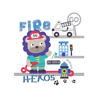 Dibujos animados de animales divertidos de rescate de fuego, ilustración vectorial